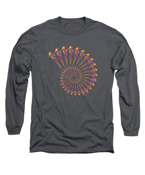 Tribal Seahorse Spiral Shell Long Sleeve T-Shirt