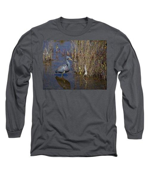 Tricolored Heron Wading Long Sleeve T-Shirt