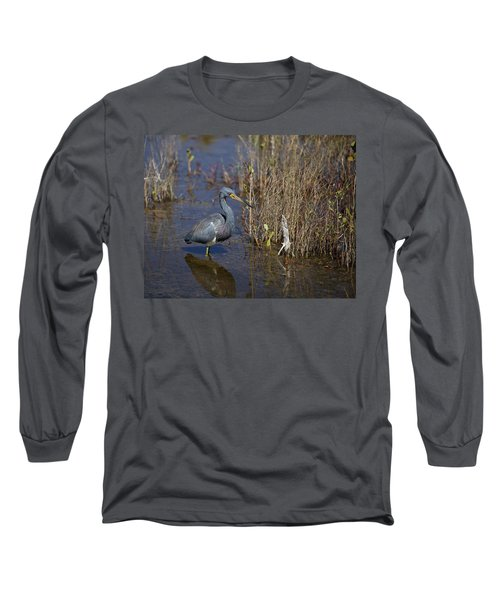 Tricolored Heron Wading Long Sleeve T-Shirt