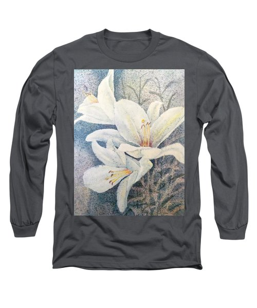 Long Sleeve T-Shirt featuring the painting Triplefold White by Carolyn Rosenberger
