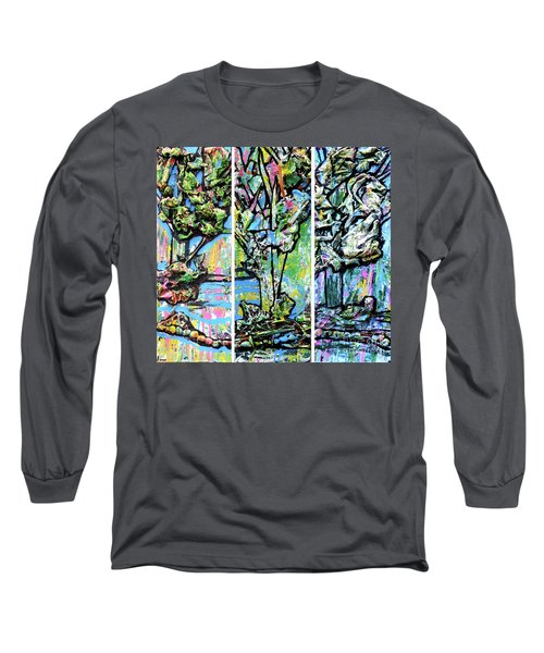 Long Sleeve T-Shirt featuring the painting Triptych Of Three Trees By A Brook by Genevieve Esson