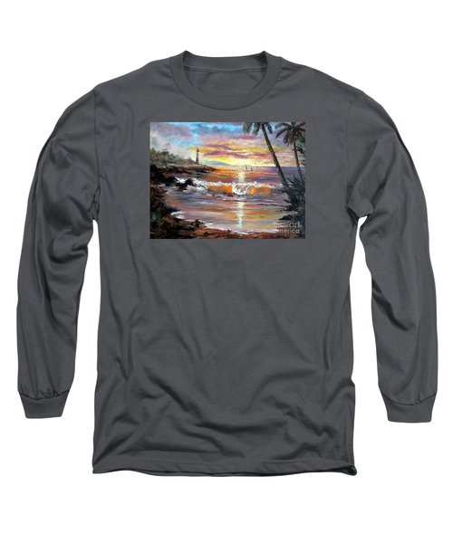 Tropical Sunset Long Sleeve T-Shirt by Lee Piper