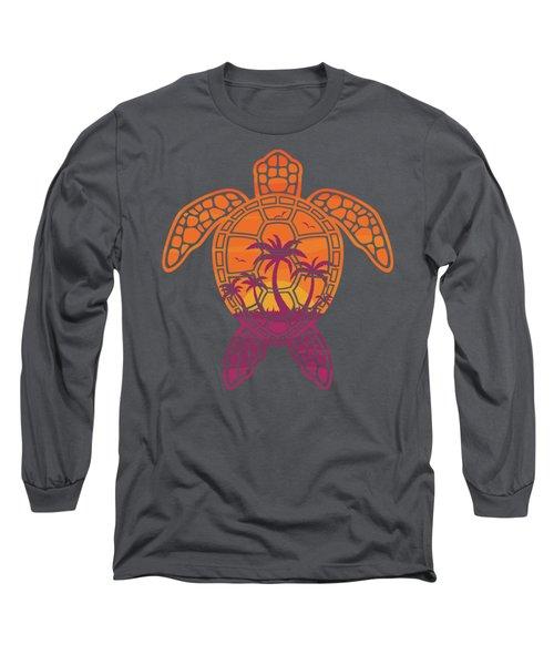 Tropical Sunset Sea Turtle Design Long Sleeve T-Shirt