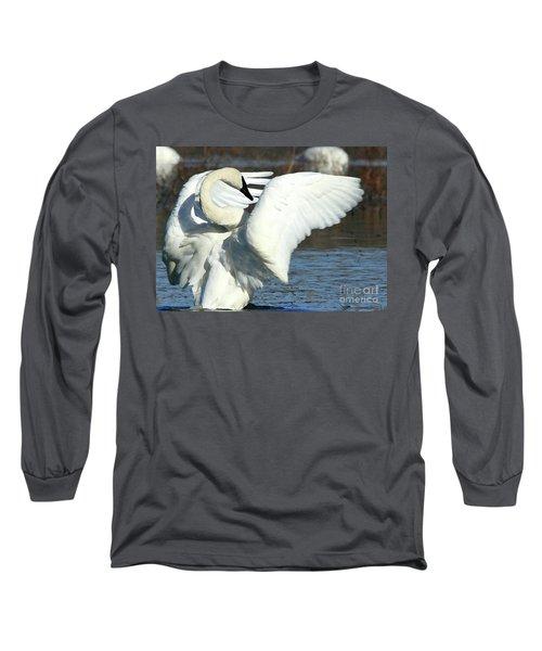 Trumpeter Swan Long Sleeve T-Shirt by Paula Guttilla