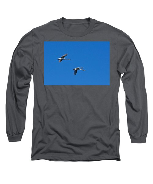 Long Sleeve T-Shirt featuring the photograph Trumpeter Swans 1726 by Michael Peychich