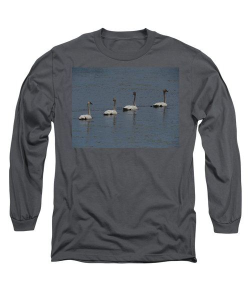 Trumpeter Swans Long Sleeve T-Shirt by Sandra LaFaut