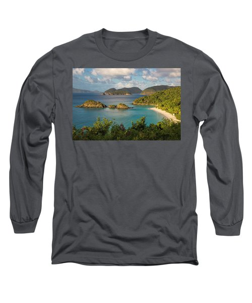 Long Sleeve T-Shirt featuring the photograph Trunk Bay Morning by Adam Romanowicz