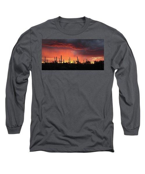 Tucson Sunset With Rain Long Sleeve T-Shirt