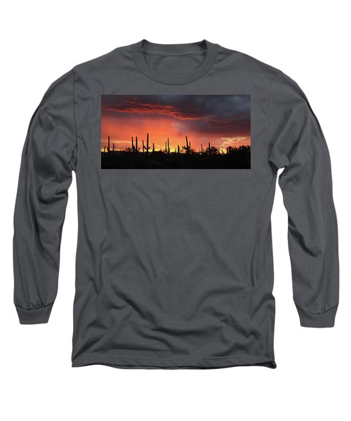 Tucson Sunset With Rain Long Sleeve T-Shirt