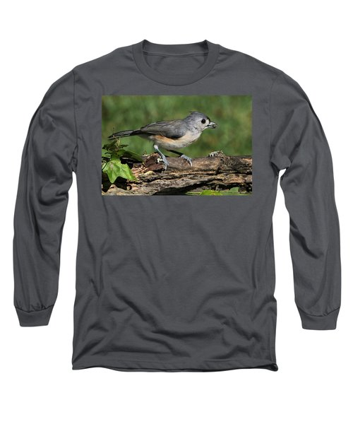 Tufted Titmouse On Tree Branch Long Sleeve T-Shirt
