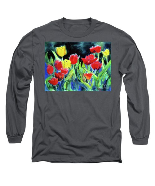 Long Sleeve T-Shirt featuring the painting Tulip Bed At Dark by Kathy Braud