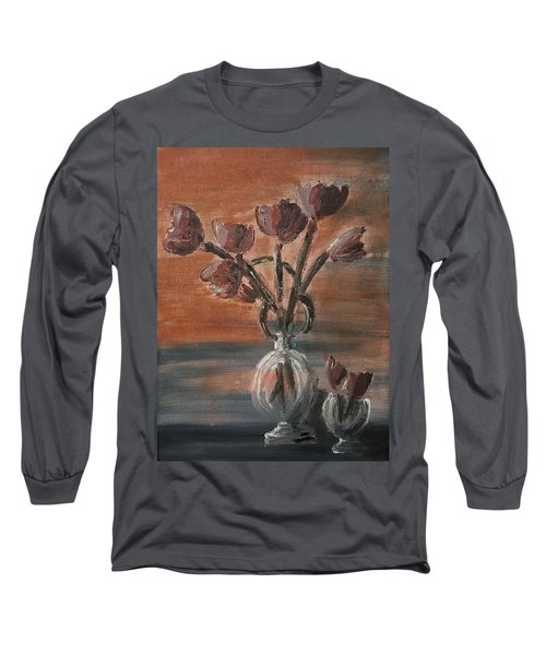 Long Sleeve T-Shirt featuring the painting Tulip Flowers Bouquet In Two Round Water Filled Small Globe Shaped Vases On A Table Still Life Of Bo by MendyZ