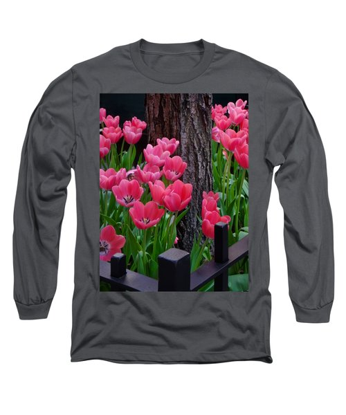 Tulips And Tree Long Sleeve T-Shirt by Mike Nellums