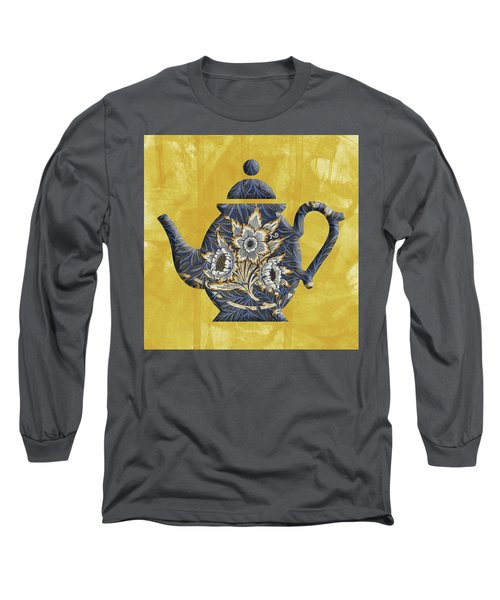 Tulips And Willow Pattern Teapot Long Sleeve T-Shirt