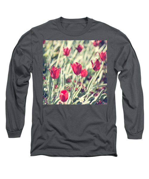 Long Sleeve T-Shirt featuring the photograph Tulips In Red by Wade Brooks