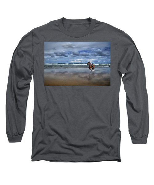 Tullan Strand - Horseriding In The Surf Long Sleeve T-Shirt