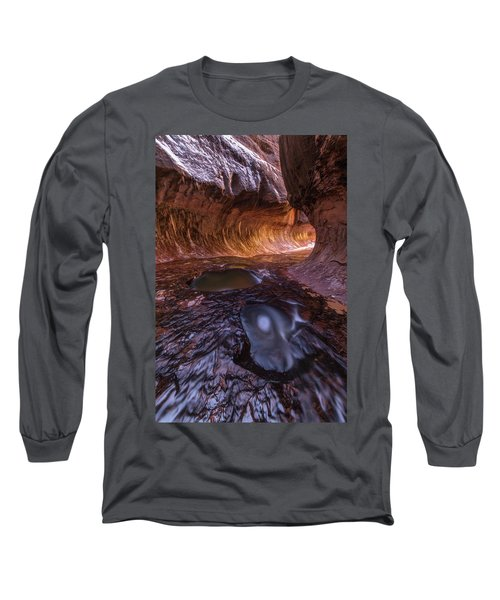 Tunnel Of Ice And Light Long Sleeve T-Shirt by Dustin LeFevre