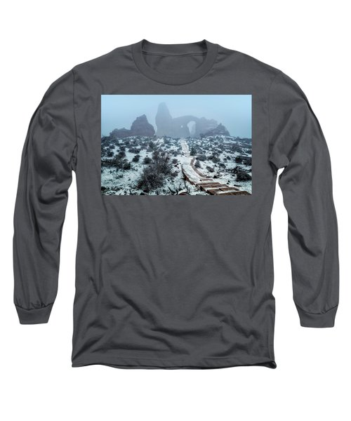 Turret Arch In The Fog Long Sleeve T-Shirt