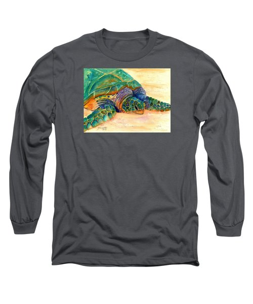 Long Sleeve T-Shirt featuring the painting Turtle At Poipu Beach 7 by Marionette Taboniar