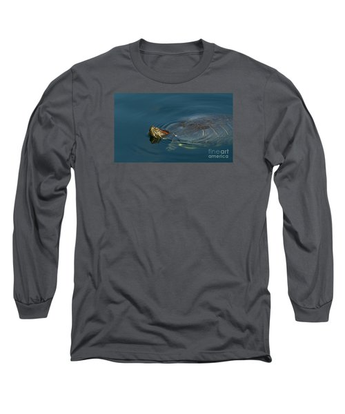 Turtle Floating In Calm Waters Long Sleeve T-Shirt