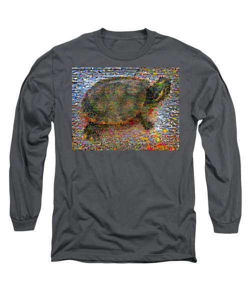 Long Sleeve T-Shirt featuring the mixed media Turtle Wild Animals Mosaic by Paul Van Scott