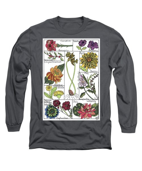 Twelve Month Flower Box Long Sleeve T-Shirt