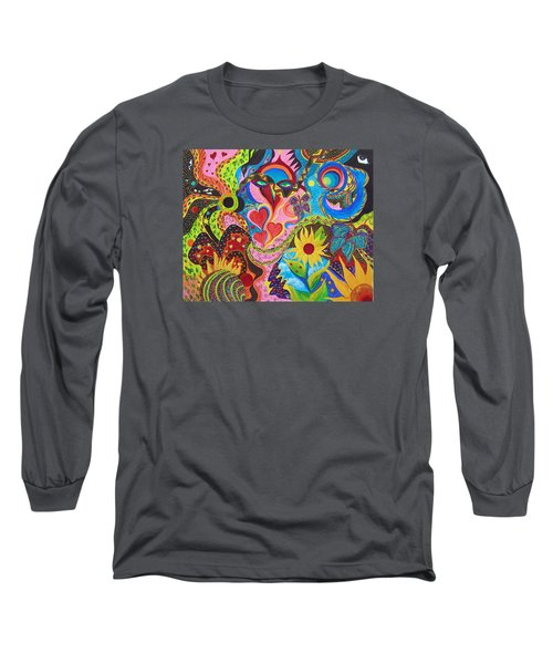 Long Sleeve T-Shirt featuring the painting Hearts And Flowers by Marina Petro