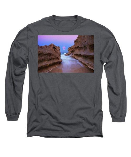 Twilight Moon Rising Over Hutchinson Island Beach Rocks Long Sleeve T-Shirt by Justin Kelefas