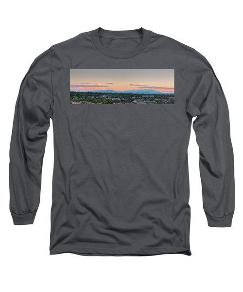 Twilight Panorama Of Santa Fe Cityscape With Sandia Mountains In The Background - New Mexico  Long Sleeve T-Shirt
