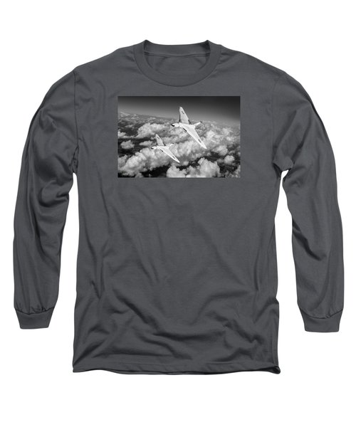 Long Sleeve T-Shirt featuring the photograph Two Avro Vulcan B1 Nuclear Bombers Bw Version by Gary Eason