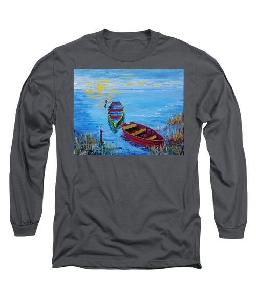 Two Boats Long Sleeve T-Shirt by Mike Caitham