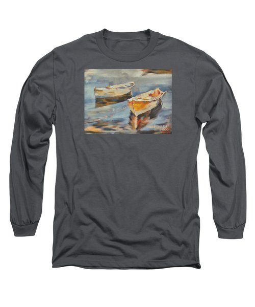 Long Sleeve T-Shirt featuring the painting Two Boats On A Mooring by Dragica  Micki Fortuna