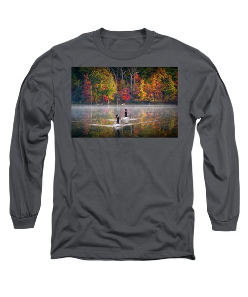 Two Canadian Geese Swimming In Autumn Long Sleeve T-Shirt