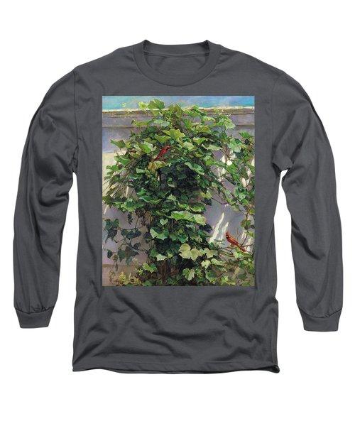 Two Cardinals On The Vine Tree Long Sleeve T-Shirt by Svitozar Nenyuk