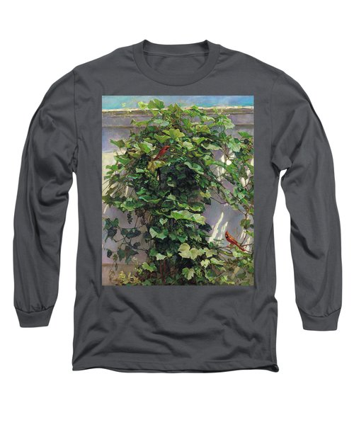 Two Cardinals On The Vine Tree Long Sleeve T-Shirt