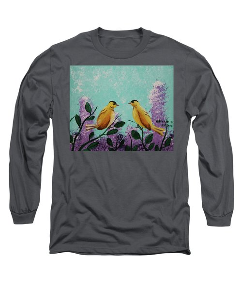 Two Chickadees Standing On Branches Long Sleeve T-Shirt