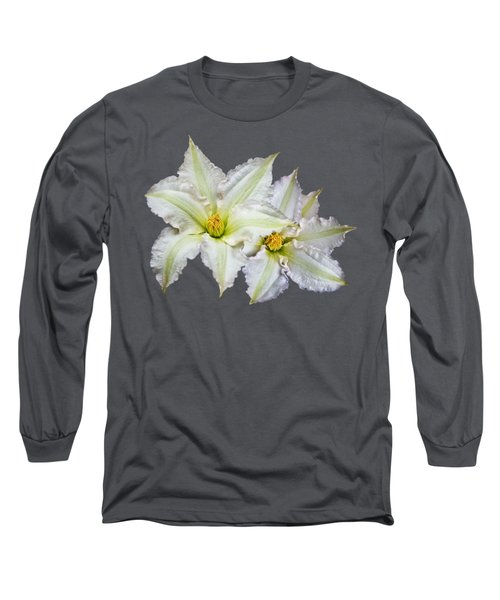 Two Clematis Flowers On Purple Long Sleeve T-Shirt by Jane McIlroy