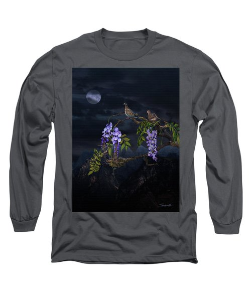 Mourning Doves In Moonlight Long Sleeve T-Shirt