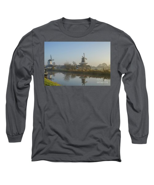 Two Dutch Windmills In The Fog Long Sleeve T-Shirt