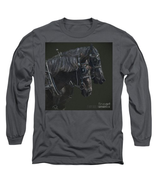 Two Percherons Long Sleeve T-Shirt by Kathy Russell