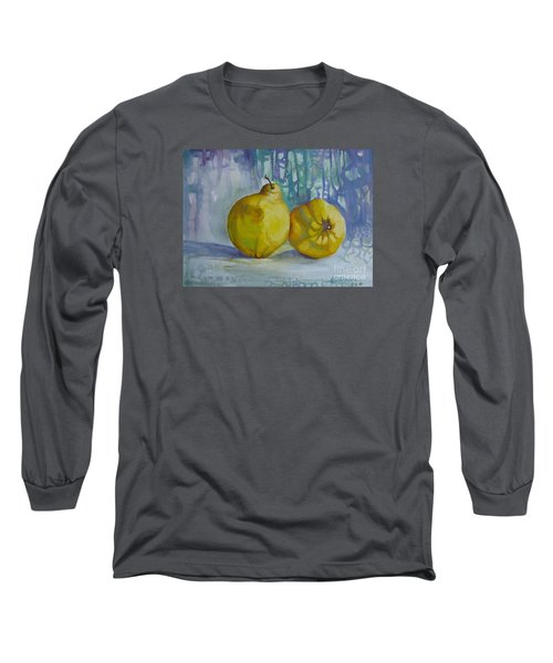 Long Sleeve T-Shirt featuring the painting Two Quinces by Elena Oleniuc
