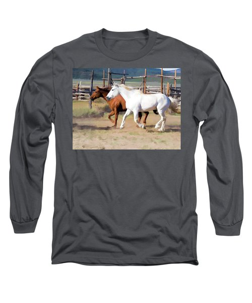Two Ranch Horses Galloping Into The Corrals Long Sleeve T-Shirt