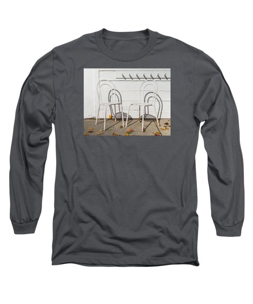 Long Sleeve T-Shirt featuring the photograph Two White Chairs And Autumn Wind by Gary Slawsky