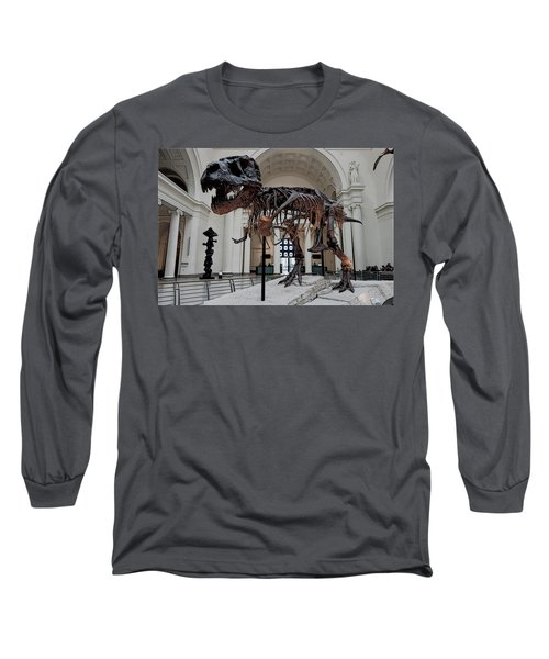 Long Sleeve T-Shirt featuring the digital art Tyrannosaurus Rex Sue - Chicago by Daniel Hagerman