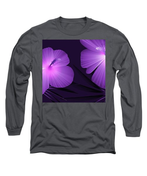 Ultraviolet Hibiscus Tropical Nature Print  Long Sleeve T-Shirt