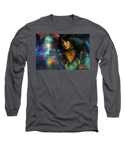 Long Sleeve T-Shirt featuring the digital art Una   ...   Remember by Shadowlea Is