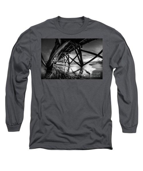 Under Sea Cabin Pier At Sunset Long Sleeve T-Shirt