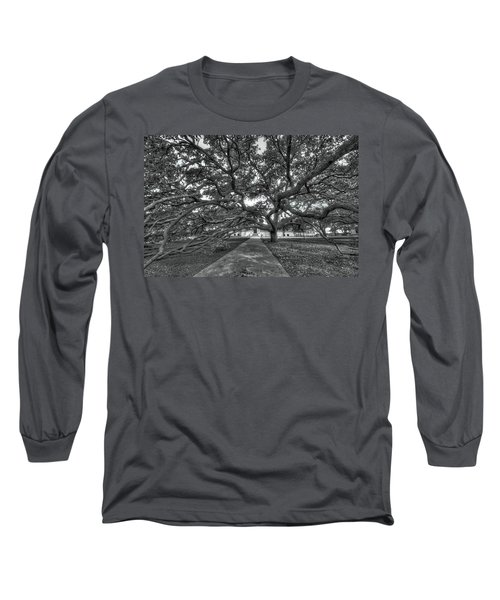 Under The Century Tree - Black And White Long Sleeve T-Shirt