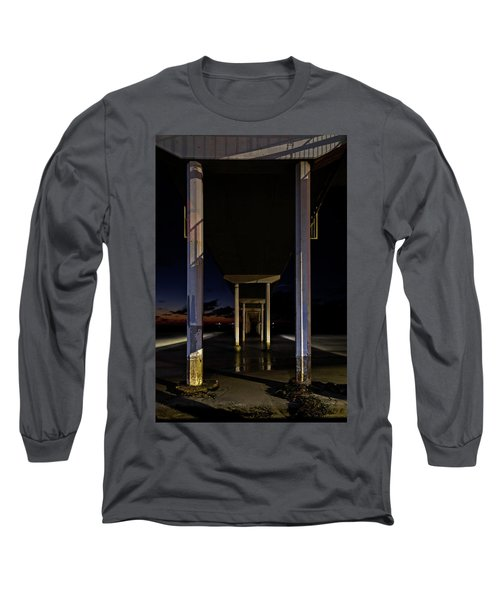 Long Sleeve T-Shirt featuring the photograph Under The Ocean Beach Pier At Sunste by James Sage