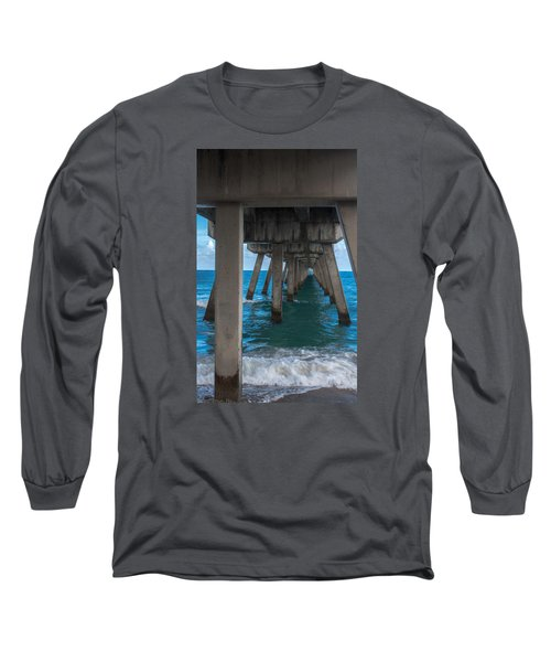 Long Sleeve T-Shirt featuring the photograph Under The Pier by Arlene Carmel